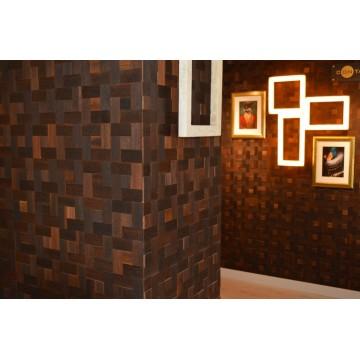 Деревянная 3D мозаика в интерьере
